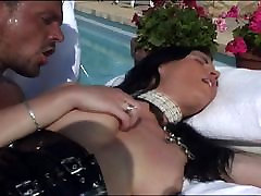 Poolside shaved Asian pussy pounding