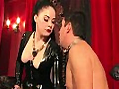 Smoking young tit mom mistress caging her pathetic sub