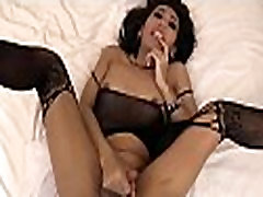 Super hot ladyboy gets her anal screwed bareback in bed
