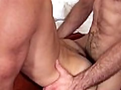 Ripped bear barebacking in muscle threesome