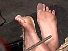 Busty white slave feet and pussy punished