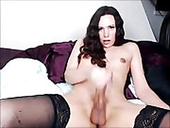 Hot &amp Hung Shemale Cums on Cam