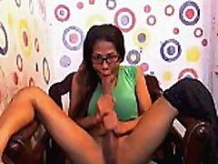 Nerdy Shemale Sucks Her Own Huge Cock
