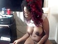 Hot black Sunny with huge ebony tits and bouncing butt