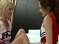 Lesbian cheerleader babe goes muffdiving
