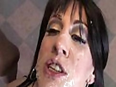 Pretty woman gangbanged by 3 big black dicks 09