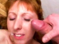 Redhead amateur Milf double blowjob, anal & facial cum