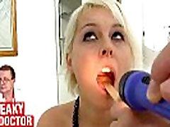 Big natural tits Bella Karina behaves weird during gyno exam