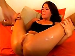 Awesome beauty gets her tiny shaved pussy fingered viciously - b-dussy.com