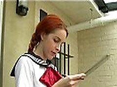 Redhead student slave in lesbian femdom