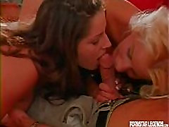Blonde and busty brunette sharing cock