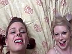 Two hot chicks gangbanged and facialed