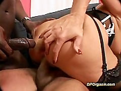 Double penetration with horny blonde