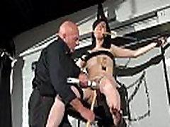 Crossed bondage tit tortures and sexual domination of screaming brunette fetish