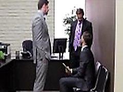 Gay uniform hunks sticky threesome fun