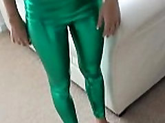 Exotic amateur Sasha teasing in shiny green PVC panties