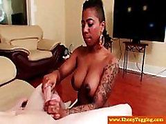 Tattoo nubian beautie tugs white cock