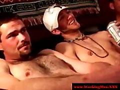Mature DILF bears tugging on dick