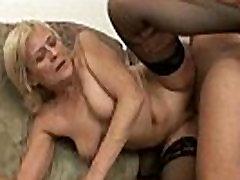 Grandma in black stockings nailed