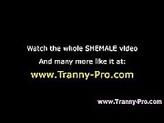 Tranny gets rammed and tugs