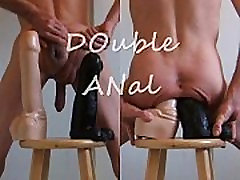 Double Anal and Big Cock Dildos Stretching My Ass