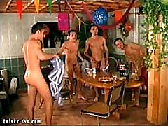 Gay party of four twinks turning into a wild orgy
