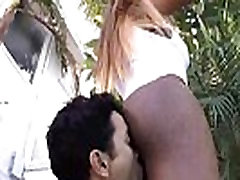 Eager blowjob from stud for ebony shemale in her yard