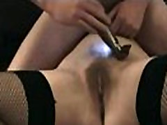 Master dry shaves one of his female slaves
