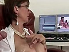 Stockinged cock tugging mature slut