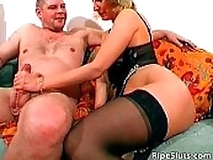 Hot and horny mature blonde wanks hard