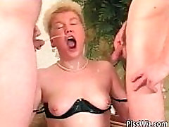 Chubby mature slut get fucked by two