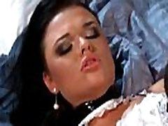Stunning maid in black stockings loves