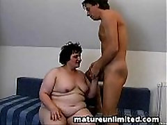 Mature belly pounded threesome