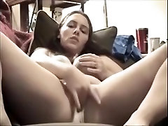 Beautiful girl likes tasting her own cum in her panties