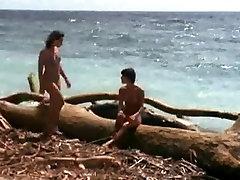 Nude retro lesbian sluts having fun at a public beach