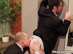 Horny gay hunk sucks cock and rims ass