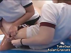 Super cute asian wrestlers blowing tube part3