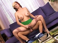 Big tits redhead mature in stockings fucks younger guy