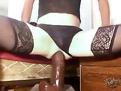 girlsy anal slut using gaping ass with big black dildos