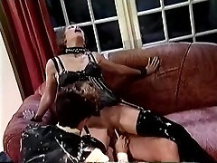 BDSM sex scene with a brunette and two maduro gordo viejo gay guys