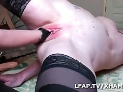 Mature uses a dildo and her male slut for her amusement