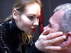 Blonde in latex fucks her thrall hard