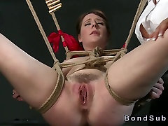 Busty sub pussy toyed by mistress in bad give wal bdsm