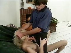 Mature blonde with nice saggies gets filled her holes