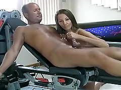 Curvy babe jerks a mature mans cock off