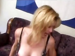 Mature in stockings with big nipples fucks on the couch