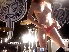 Sexy girls flashing public nude rock concert striptease