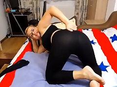 Italian milf in black leggings