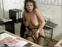Tart In Stockings Needs To Cum At Work