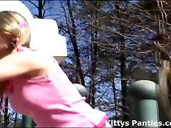 Watch me flashing my pink panties at the park